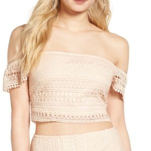{Leith} NWT Light Peach Lace Off Shoulder Crop Top